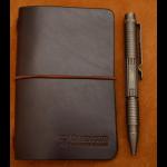 funda cuaderno de notas de cuero marrón