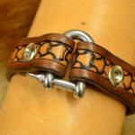 pulsera de cuero eslabón marino escama 1