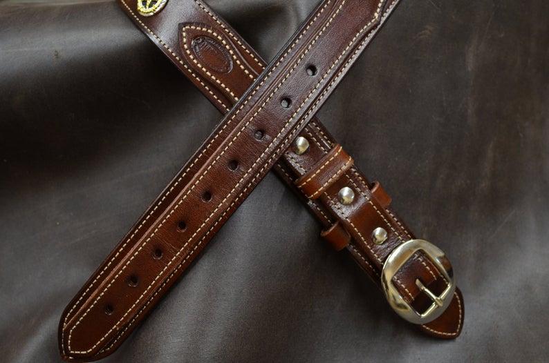 cinturón Ranger de cuero decorado marrón