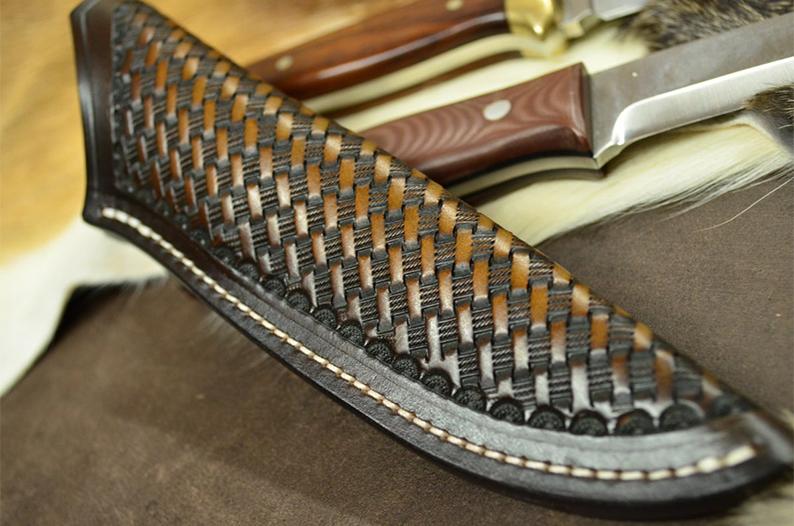 Funda de cuchillo cuero hecha a mano para Bushcraft