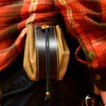 bolso cuero tipo Judas para cinturón detalle