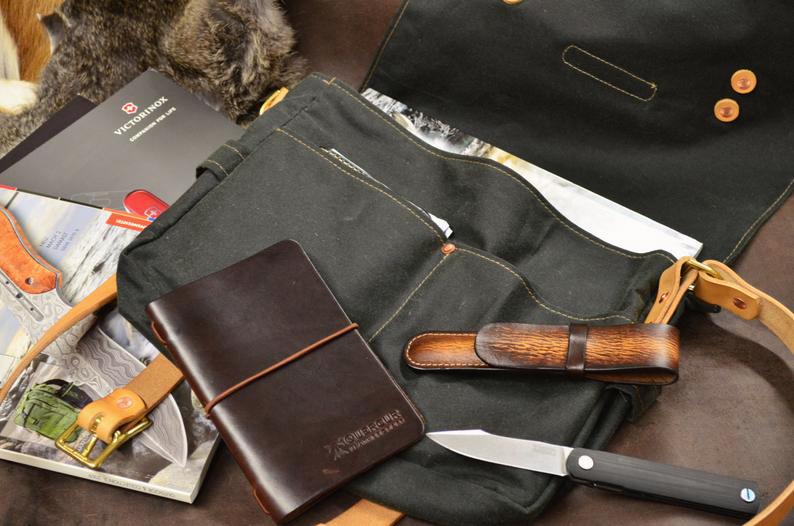 bolso de loneta encerada cuero detalle