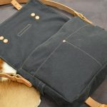 bolso loneta encerada cuero azul