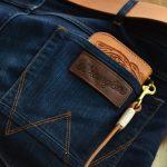 cartera cuero repujado piel cocodrilo jeans