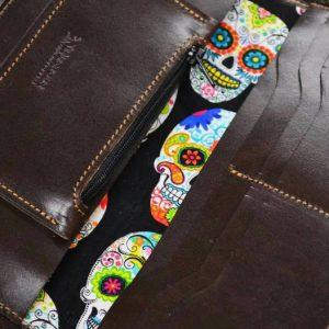 cartera de cuero repujado personalizada interior