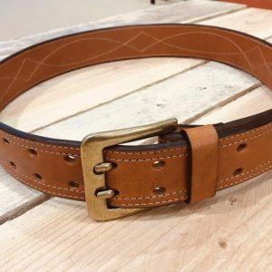 cinturón de cuero cosido español marrón miel