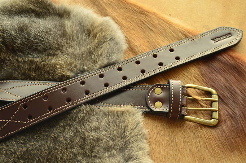 cinturón cuero con cosido español marron oscuro