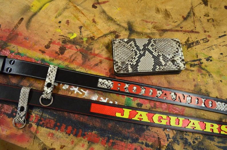 cinturón de cuero hecho a mano piel de serpiente personalizado
