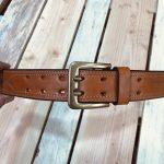 cinturón de cuero cosido español marrón claro