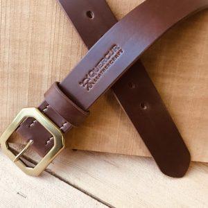 cinturón de cuero natural marrón cognac