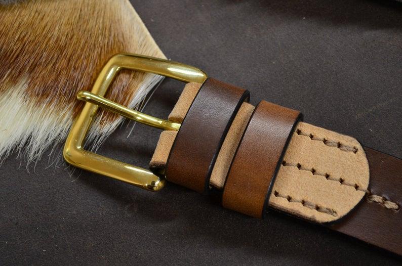 cinturón de cuero natural vacuno marrón