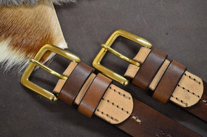 cinturón de cuero natural vacuno marrón tabaco