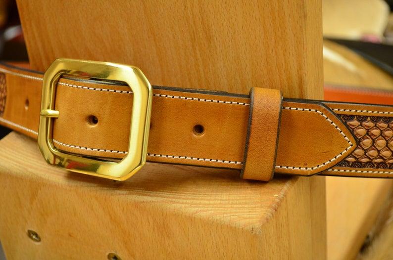 cinturón de cuero hebilla latón macizo