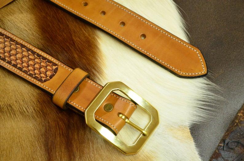 cinturón de cuero hecho a mano hebilla de latón macizo