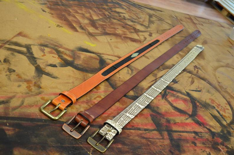cinturón cuero y piel de raya